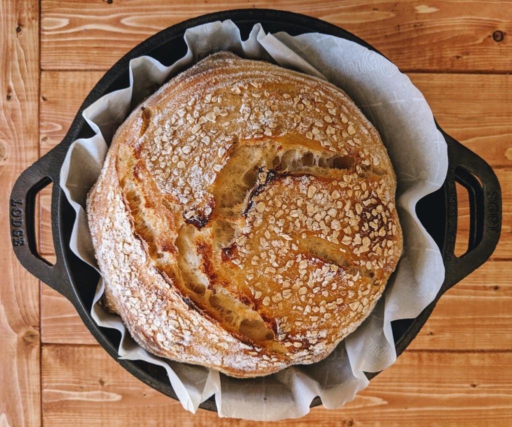 Standard sourdough in Lodge dutch oven